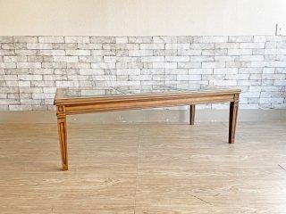 マルニ木工 MARUNI 地中海ロイヤル ROYAL ガラスセンターテーブル W137cm ヨーロピアンクラシカルデザイン ●