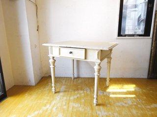 フランスビンテージ French Vintage ホワイトペイント デスクテーブル パイン材 1ドロワー シャビーシック ★