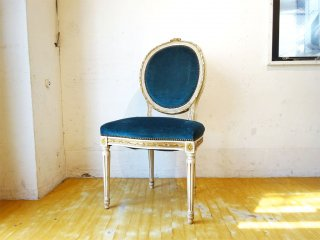 フランス アンティーク French antique ペイント サロンチェア Salon chair ダイニングチェア ベロアシート ★