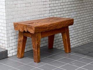 アジアンスタイル Asian Style ベンチ サイドテーブル 飾り台 チーク無垢材 古材 ■