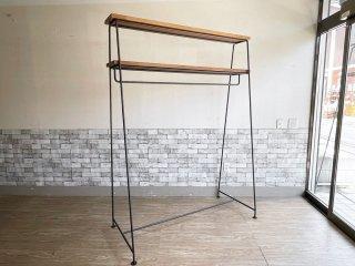 インダストリアルデザイン アイアンフレーム × オーク無垢材天板 ハンガーラック シェルフ ワイド 大型 W147 工業系 店舗什器 A ●