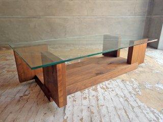 ヒラシマ HIRASHIMA カラメッラ リビングテーブル CARAMELLA Living Table glass ウォールナット 無垢材 ガラス天板 定価:150,700円 ♪