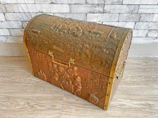 UKアンティーク 英国製 UK Antique 銅打ち出し 宝箱 トレジャーボックス トランク ブランケットボックス 収納箱 店舗什器 ●