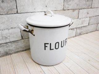 UKビンテージ UK Vintage ホーロー缶 キャニスター フラワー FLOUR エナメル 保存容器 取手付き ●