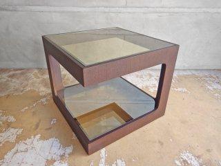モーダエンカーサ moda en casa ダイス dice 50 coffee table コーヒーテーブル サイドテーブル ダークブラウン ミラーガラス ♪