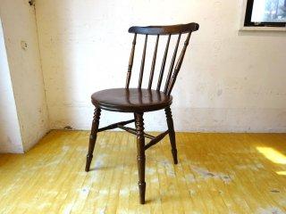 アンティーク スピンドルバック ダイニングチェア スポークバック サイドチェア ニレ無垢材 楡 ラウンドシート Antique Chair ★