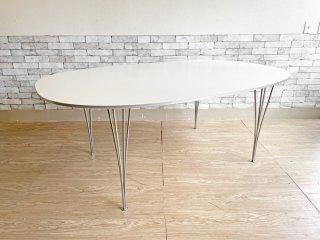 フリッツハンセン Fritz Hansen スーパー楕円 Bテーブル ダイニングテーブル ホワイト W180cm デンマーク 北欧 定価¥327,800- ●