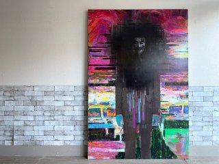 unknown アクリル画 抽象画 絵画 大判サイズ 130×194cm アバンギャルド 現代アート 現状品 ●