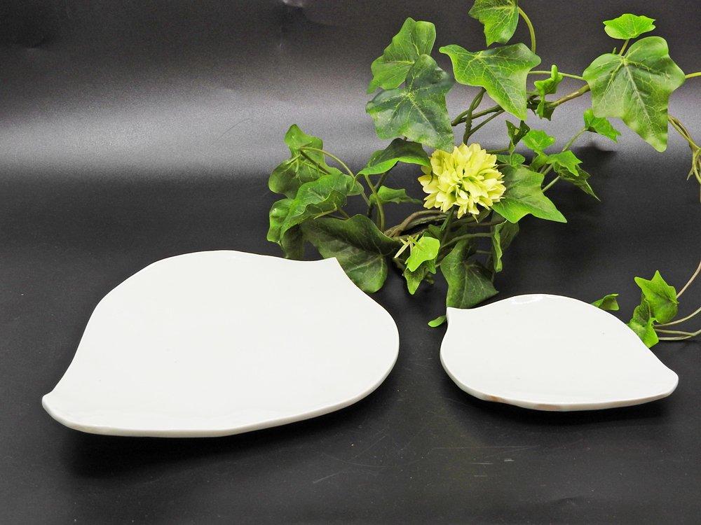 森岡由利子 白磁 リーフプレート 葉型 皿 小 W14cm 現代作家 ●