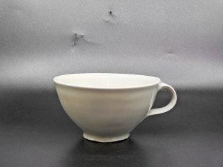 森岡由利子 白磁 スープカップ マグカップ Φ12.5cm 現代作家 A ●