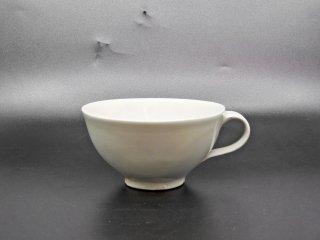 森岡由利子 白磁 スープカップ マグカップ Φ12.5cm 現代作家 B ●