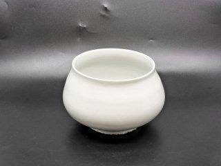 森岡由利子 白磁 大鉢 ボウル 建水 花器 Φ18cm 現代作家 ●