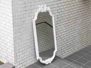 ヨーロピアンクラシカルスタイル アンティークスタイル ウォールミラー 鏡 ホワイト イタリア ■