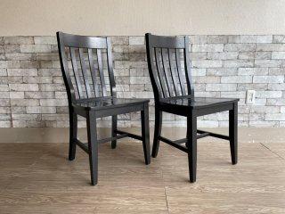 ポッタリーバーン Pottery Barn スクールハウスチェア Schoolhouse Chair ダイニングチェア ブラック 2脚セット A ●