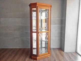 三越家具 ブルージュ Brugge キュリオケース 飾り棚 3面ガラス 英国カントリー ナラ無垢材 カントリーハウス 現状品 ♪