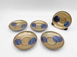 玉川堂 鎚起銅器 亀甲文 茶托 5枚セット 伝統工芸品 無形文化財 ●