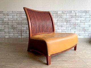 BC工房 安楽きらきら椅子 ラウンジチェア ソファ 1人掛け オーダーサイズ 本革 チーク無垢材 アームレス 和椅子 イエロー×ブラウン ●