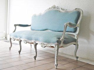 フランスアンティーク French Antique サロンソファ 3P ルイ15世様式 1900's ホワイトペイント シャビーシック 店舗什器 ◇