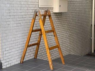 ジャパンビンテージ 木味 ウッドラダー 木製 梯子 脚立 ディスプレイラック 古材 店舗什器 ■