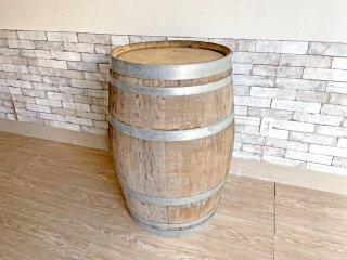 古い木味のワイン樽 カウンターテーブル 立ち呑み 店舗什器 カフェ バー ディスプレイ インテリア 空樽 大型 D 現状特価品 ●