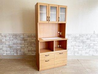 ビーカンパニー B-COMPANY コチーナ Cocina キッチンボード カップボード 食器棚 ナチュラル タイルトップ チェッカーガラス ●