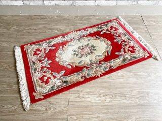 中国段通 玄関マット ラグ ウール 手織 レッド系 花柄 130×70cm 現状品 ●