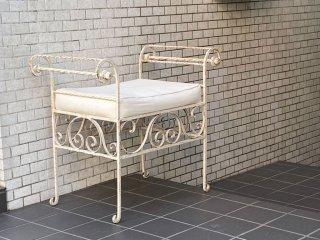 アンティークスタイル Antique Style アイアンベンチ ガーデンベンチ スツール ホワイトペイント シャビーシック ■