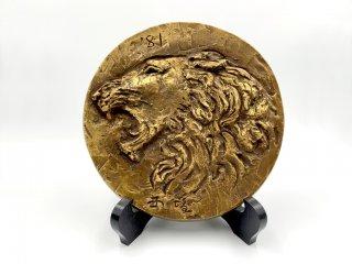 北村西望 鋳銅飾額 獅子吼 限定製作 彫刻家 ブロンズ オブジェ レリーフ 壁掛けインテリア 箱付 ◎