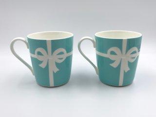 ティファニー Tiffany & Co. マグカップ 2客セット ブルー リボン ブルーボックスマグ 未使用 箱付 ◎