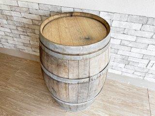 古い木味のワイン樽 カウンターテーブル 立ち呑み 店舗什器 カフェ バー ディスプレイ インテリア 空樽 大型 E 現状特価品 ●