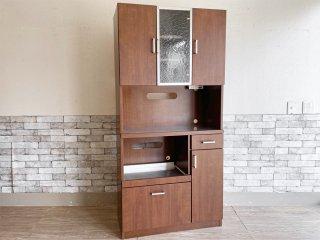 ビーカンパニー B-COMPANY キッチンボード カップボード 食器棚 ブラウン モザイクガラス ●