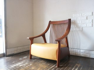 BC工房 チーク無垢材 だんらん工芸椅子 ワイドサイズ ラウンジチェア レザー張り クラフトチェア  ◎