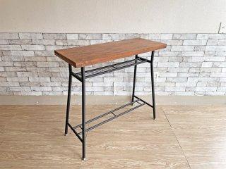 サンニード カウンターテーブル デスク バーテーブル ウォールナットカラー天板 × スチールレッグ W95cm インダストリアルスタイル ●