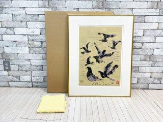 池田満寿夫 リトグラフ 善光寺の鳩 版画 額装品 7/100 ●