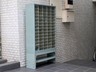 ビンテージ Vintage スチール カードキャビネット ファイリングキャビネット ブルー インダストリアル 店舗什器 ■