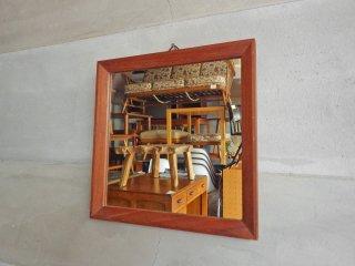 ビンテージ チーク材 壁掛け ウォールミラー スクエア 木製フレーム ♪