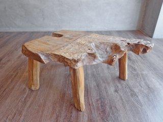 アジアンチーク 無垢材 一枚板 サイドテーブル スツール 天然木 店舗什器 ♪