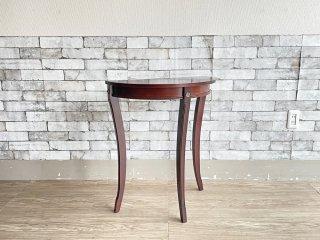 クラシカルデザイン コンソール テーブル サイドテーブル 花台 猫脚 ブラウン ●