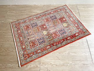 ペルシャ風 絨毯 パネル文様 ラグ 赤系 152×102cm ●