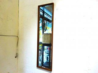 ビンテージ チーク無垢材フレーム ウォールミラー 壁掛け鏡 立てかけ鏡 ★