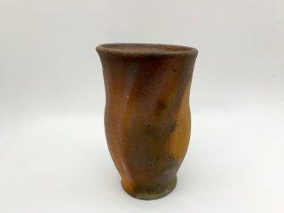 森岡 成好 花器 花瓶 フラワーベース 高さ18.5cm 南蛮焼締 陶芸家 現代作家 ●