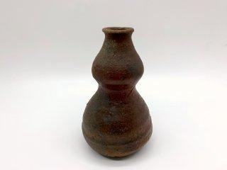 森岡 成好 花器 花瓶 フラワーベース 高さ16.5cm 南蛮焼締 陶芸家 現代作家 ●