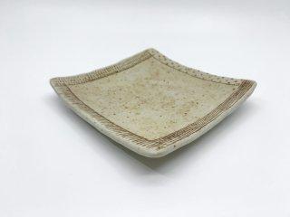 金成 潤子 角皿 プレート スクエア 14.3cm 常滑焼 陶芸家 現代作家 ●