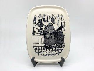 ナブストラップ Knabstrup ウォールプレート 壁掛け ビンテージ デンマーク 手書き絵皿 北欧雑貨 ●