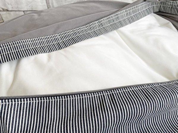 無印良品 MUJI 体にフィットするソファ ビーズクッション 綿デニムヒッコリーカバー ●
