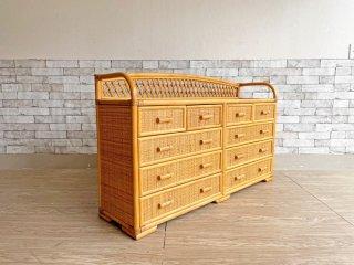 和モダン ラタン製 ワイドチェスト 洋服箪笥 4段 抽斗計10杯 W127cm 籐家具 ●