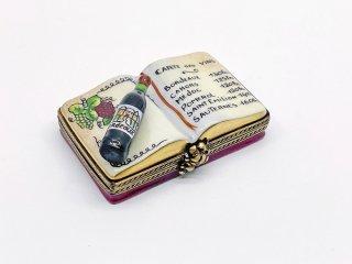 リモージュ LIMOGES 陶製 ボックス ピルケース 小物入れ ブック型 ワインメニュー ボルドー ハンドペイント 金彩 フランス ●