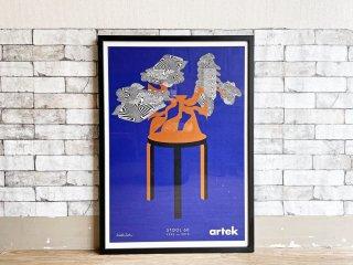 アルテック artek スツール 60 80周年記念 シルクスクリーン ポスター Kustaa Saksiデザイン 2013年 sempre購入フレーム 額装品 A1サイズ ●