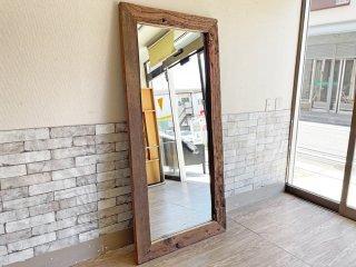 ビンテージスタイル Vintage Style 大型ウォールミラー 立て掛け式 無垢材フレーム 姿見 全身鏡 80×170cm 古材 インダストリアル  ●