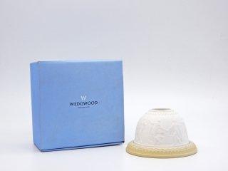 ウェッジウッド WEDGWOOD ジャスパー Jasper ドーム型 キャンドルホルダー ホワイト × クリーム 箱付 ●
